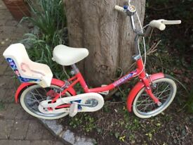 Raleigh Mermaid bicycle, 14 inch frame, in very good condition, plus 2 stabilisers