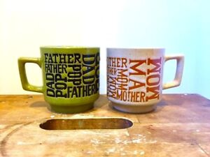 Vintage 70's Mom and Dad mugs