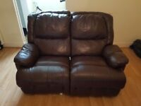 real leather brown manual BOTH side recliner large seater sofa modern stylish