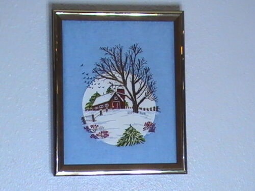 """Paragon Winter Scene  Advertising Display Embroidery 1982  9"""" x 11"""" Completed"""