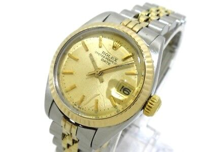 Auth ROLEX Oyster Perpetual Date 6917 ChampagneGold 18K Yellow Gold 8045968
