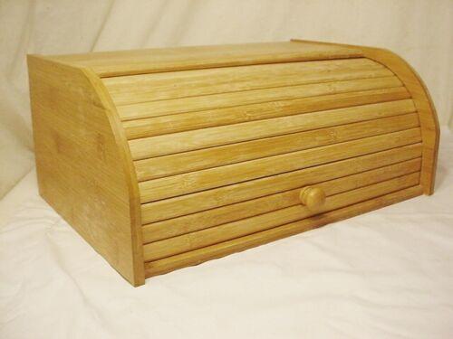 """Bamboo Roll Top Bread Box Kitchen Food Storage 15x10x7"""" Keeper Bin Wood FreShip"""