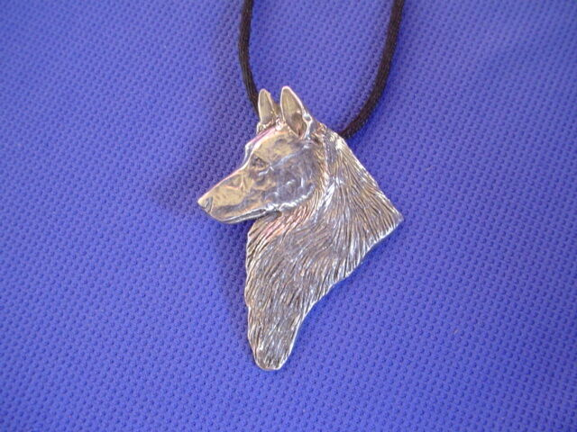 Belgian Tervuren Necklace HEAD #48A Pewter Dog Jewelry by Cindy A. Conter