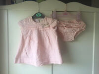 Zara baby girl party dress outfit with matching pants 6-9 m