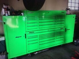 Extreme Green Snap On Classic 96 Tool Box c/w 2 side boxes - MONSTER