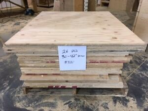"Pallets of 3/4"" thick plywood pieces"