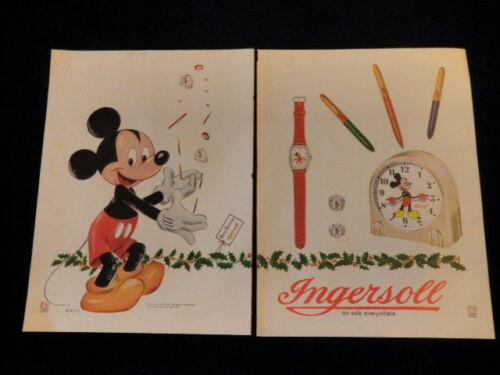 "Vtg Walt Disney Mickey Mouse Ingersoll Watch Clock 2pg Oversized Ad 10x14"" J12"