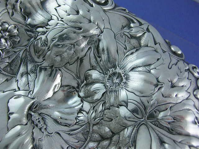"""Elaborate Sterling GORHAM 10 1/4"""" Dish Art Nouveau multi floral A1256M 12.02ozt"""