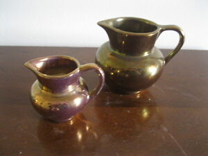 GRAY'S POTTERY & OLD CASTLE COPPER-LUSTER CREAMER PITCHERS