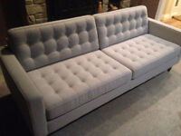 """EQ3 Reverie 86"""" Sofa - Jet stone Fabric 3 months old - like new"""