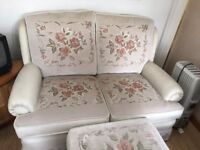 2 Seater Sofa & chair with 2 matching footstool