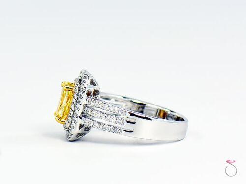 Natural Fancy Intense Yellow Diamond Ring, 1.02 ct. 18K White Gold 1.40 CTW. GIA 6