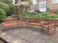 Hardwood Garden Furniture - 2 x Benches & 2 x Chairs - Very Good Condition