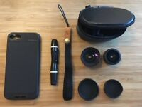 Selling Moment Wide/Superfish lenses (V2) with pen and case, iPhone 7/8 case and leather strap