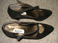 BALLY SHOES, SIZE 4, OPTIONAL BLACK WOOL COAT AND VELVET TROUSERS