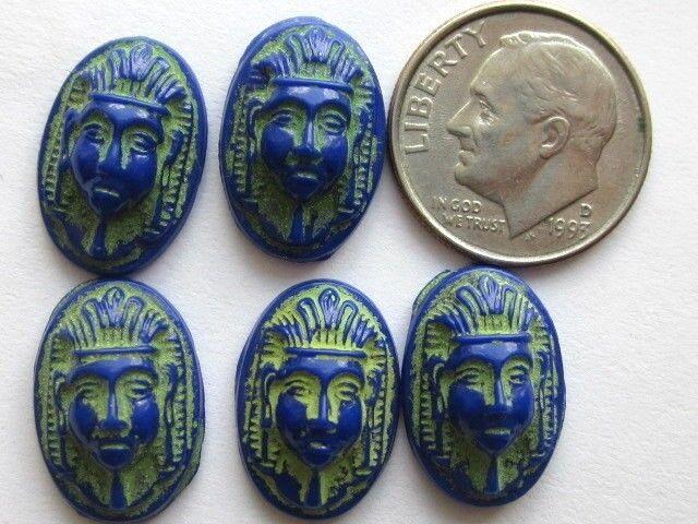 5 MAX NEIGER RARE ART DECO EGYPTIAN REVIVAL BLUE SCARAB GLASS CAB STONES CRAFTS