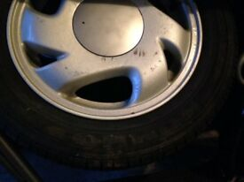"6*14"" Alloy wheels, 4*100, good tyres, bolt on and use ready, £75"