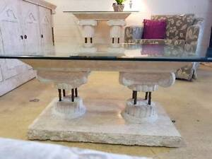 Stunning Fossil Stone Glass Top Coffee Table Noosaville Noosa Area Preview