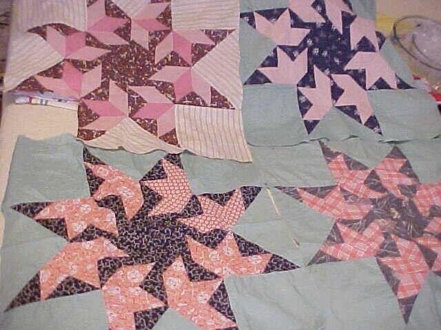 4 VTG FALLING STARS Large Quilt Blocks 1930s Fabrics