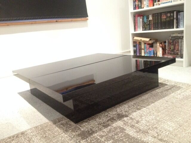 Square High Gloss Black Coffee Table With Storage 30