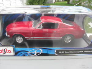 1967 Mustang GTA Fastback Red Diecast Toy Car 1:18 New In Box GT