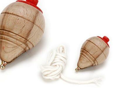 Peonza de madera clásica con cuerda y punta metalica redondeada Trompo Baldufa