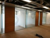 USED TOUGHENED GLASS PARTITION SYSTEMS (DISMANTLED & READY TO GO) IN BISHOPSGATE, LONDON (EC2N)