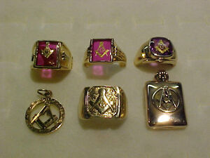 7 MASONIC PIECES-RINGS*PENDANT*LOCKET*NICE CONDITION