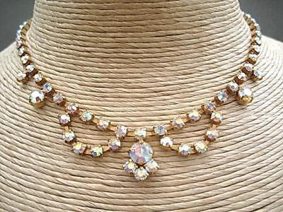 Pristine Vintage 50's Aurora Crystal Drape Necklace - Wedding/Prom?