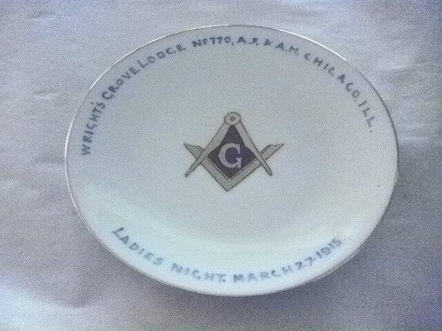 """ANTIQUE MASONIC 6"""" DISH CHICAGO THOMAS BAVARIA CHINA KEATES ART STUDIO 100 YEARS"""