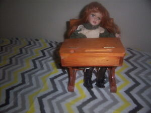 Doll and Desk,Boy Fishing,Girl Doll with teddy Bear,wooden doll. Kingston Kingston Area image 1