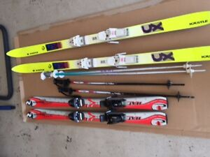 down hill skis and poles