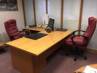 High quality, used light oak office desk and return with matching cabinets, 1 with integral fridge