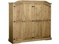 Wardrobe 4 door NEW solid wood pine flat pack