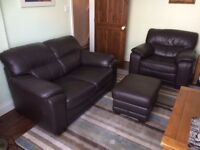 2- , 1- seater sofa and storage pouffe / chocolate brown leather . Very good condition!!!