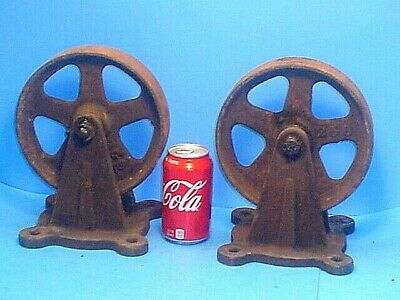 Pair Large 8 Antique Iron Industrial Caster Cart Wheels Steampunk