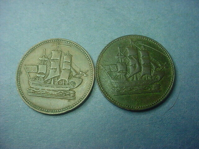 Canada Token Prince Edward Island c1855 Pair Ship #36893