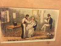 Barber shop Scene in Frame Circa 1850 reproduction framed and mounted