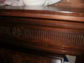 quality/original/large victorian/edwardian ,fire surround in gorgeous red,walnut show piece for/room
