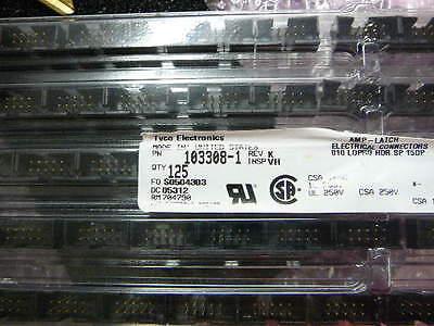 Amp 103308-1 Connector Header Lopro Str 10 Position Gold New 5pkg