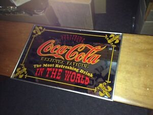 "Vintage Coke Mirror Sign - Relieves Fatigue 18"" x 12"""