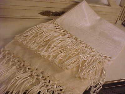 Antique Italian Linen Damask Large Towel w Fringe Borders NWOT