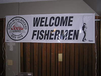 COORS LIGHT BEER BANNER WELCOME FISHERMEN NASCAR MAN CAVE