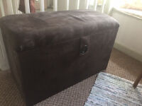 Chocolate Brown Mock Suede Storage Trunk/Ottoman