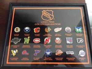 Vintage Hockey Team Logo Pins Collectors Edition Set NHL Framed.
