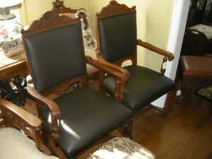 2 or 4 antique leather oak side or dining chairs ($395 EACH)