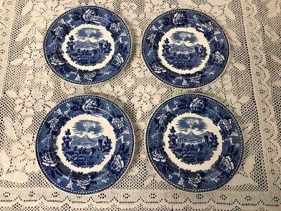 Wedgwood Landscape Dark Pattern Blue & White ~ 4 Bread & Butter Plates