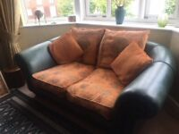 Leather & fabric Chesterfield style 3 piece suite
