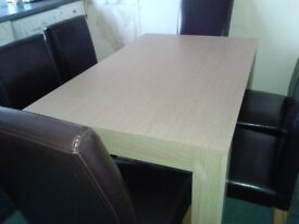 LOVELY OBLONG TABLE AND SIX CHAIRS, FOR DINING ROOM OR KITCHEN