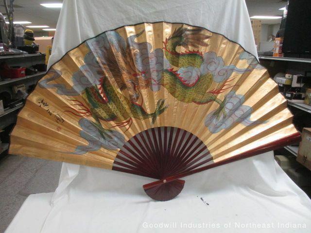 """LARGE 60"""" x 35"""" Oriental Phoenix Dragon Folding Fan (MB)"""